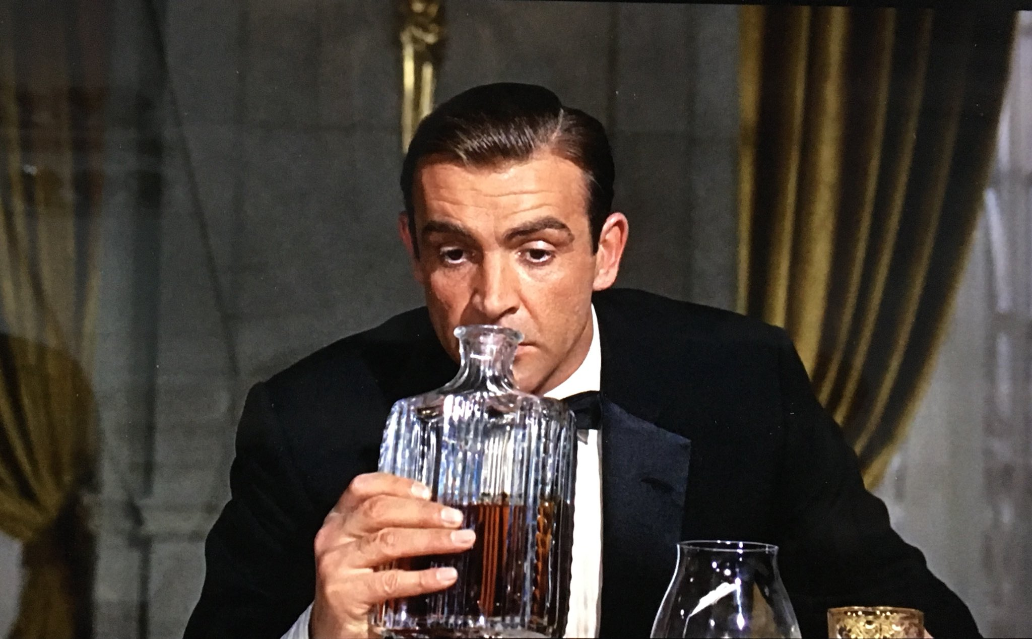 """Dave Stubbs 🇨🇦 on Twitter: """"Goldfinger's Col. Smithers: """"Have a little  more of this rather disappointing brandy."""" M: """"What's the matter with it?""""  Magnificently pompous Sean Connery, best Bond EVER: """"I'd say"""