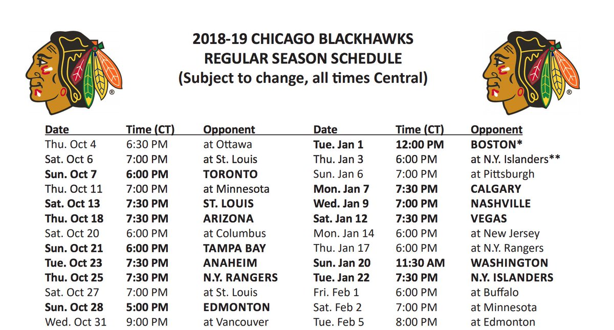 picture about Tigers Printable Schedule identified as Chicago Blackhawks upon Twitter: \