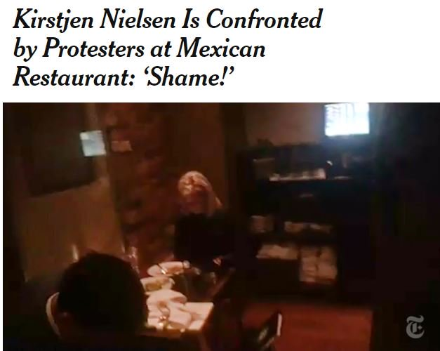 Anyone know where Allison Hrabar, a paralegal specialist at the DOJ, and the other brave protesters who harassed Kirstenjen Nielsen hang out for dinner? We have free speech too #immigrantchildren #KeepFamilesTogether #MAGA