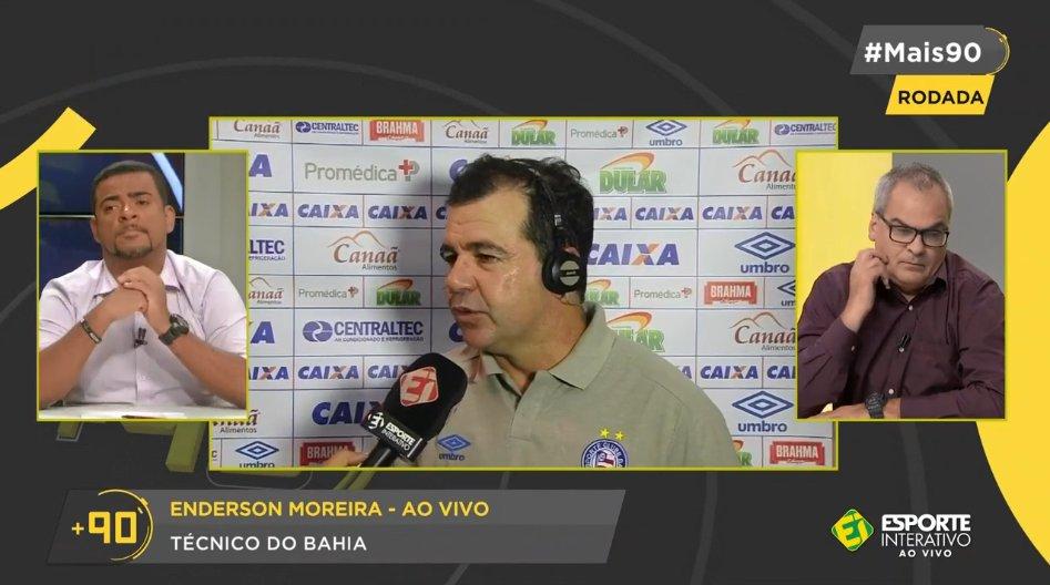 Enderson Moreira, técnico do Bahia, está falando AO VIVO no #Mais90 Rodada após a vitória sobre o Ceará na Copa do Nordeste! Fica com a gente que o papo tá muito bom!