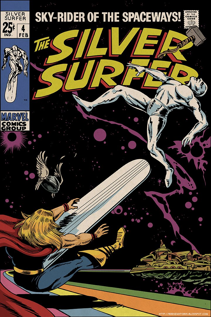 """I like this @drfab """"one moment after"""" tribute to John Buscema's cover of Silver Surfer #4. https://t.co/IUWfKjclau"""