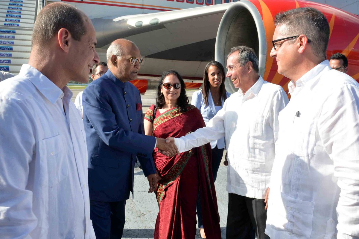 President #RamNathKovind arrived in Cuba today on final leg of his three-nation tour to Greece, Suriname and Cuba.
