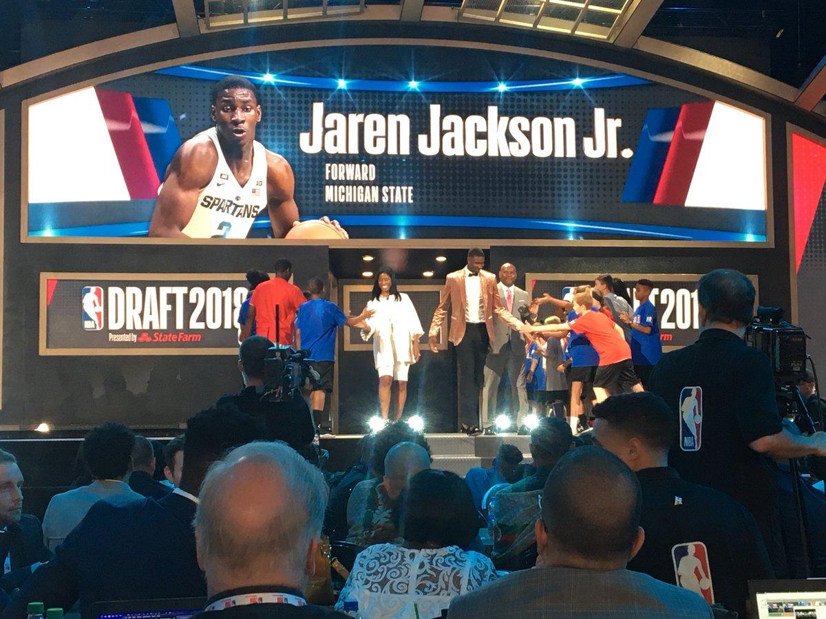 .@jarenjacksonjr and @MilesBridges are announced at the #NBADraft! #NBADraft ✖️#SpartanDawgs