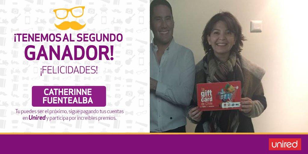 Catherinne Fuentealba pagó sus cuentas en #Unired y ganó! 🎁 Felicitamos a nuestra afortunada ganadora de la segunda #giftcard de $100.000 👏 https://t.co/5d2uAdSIDg
