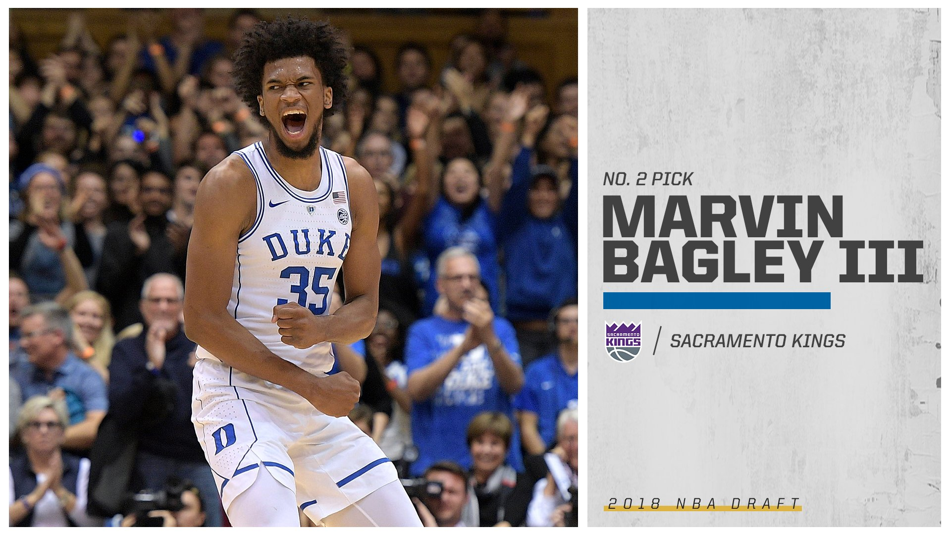The newest King?  Duke's Marvin Bagley III is headed to Sacramento with the No. 2 pick. https://t.co/USgcCBBtOc
