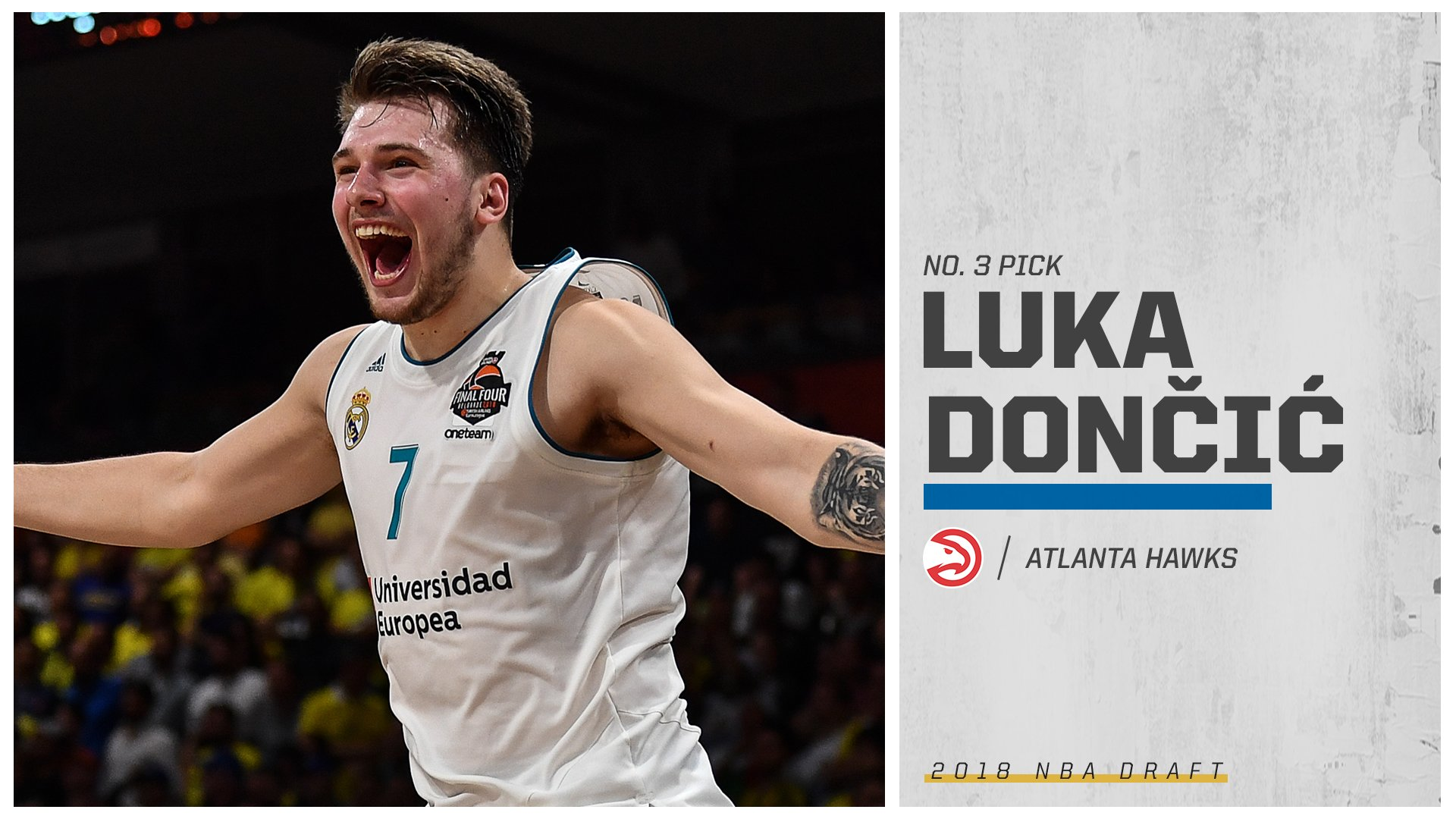 From Slovenia to Madrid to Atlanta.  The Hawks take Luka Doncic at No. 3! https://t.co/w4YRAt9THj