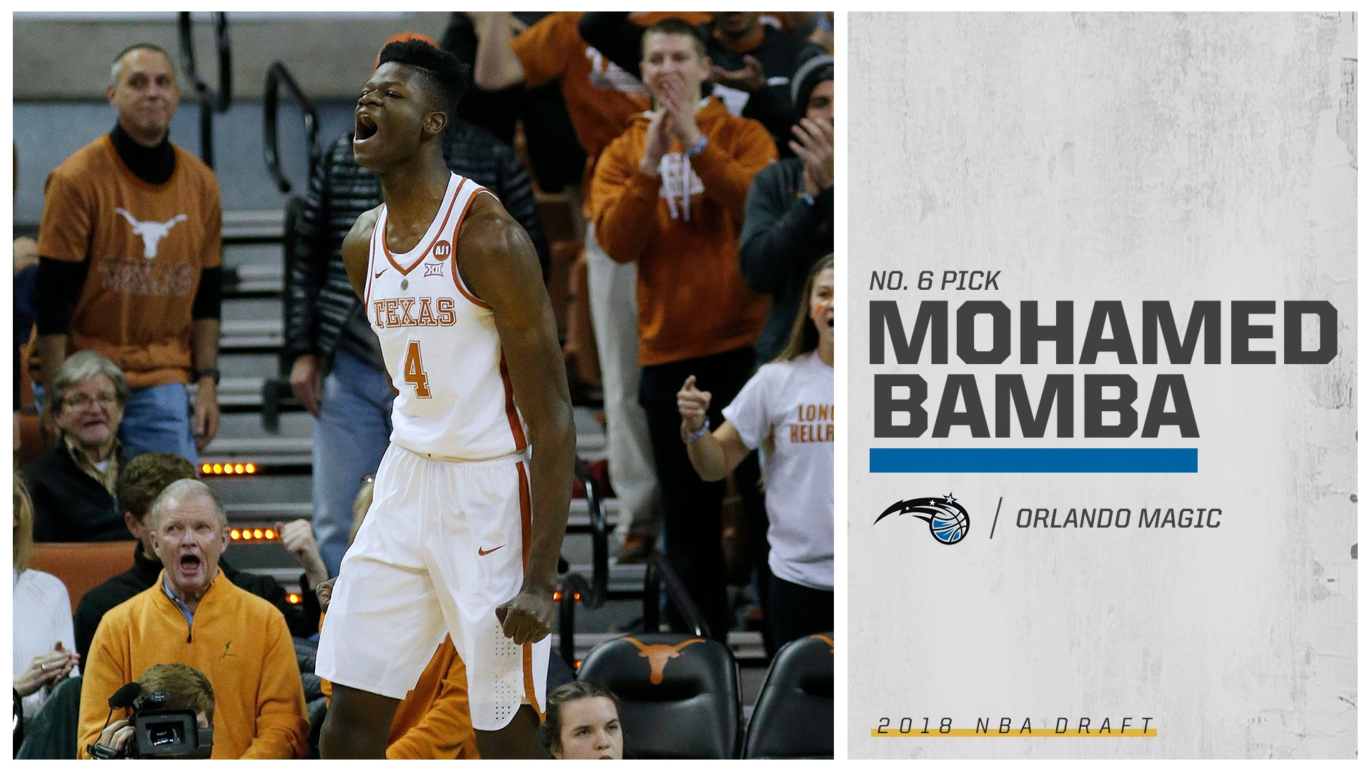 Mo Bamba is headed to the sunshine after being selected No. 6 overall to the Magic! https://t.co/UIhULSd9fd