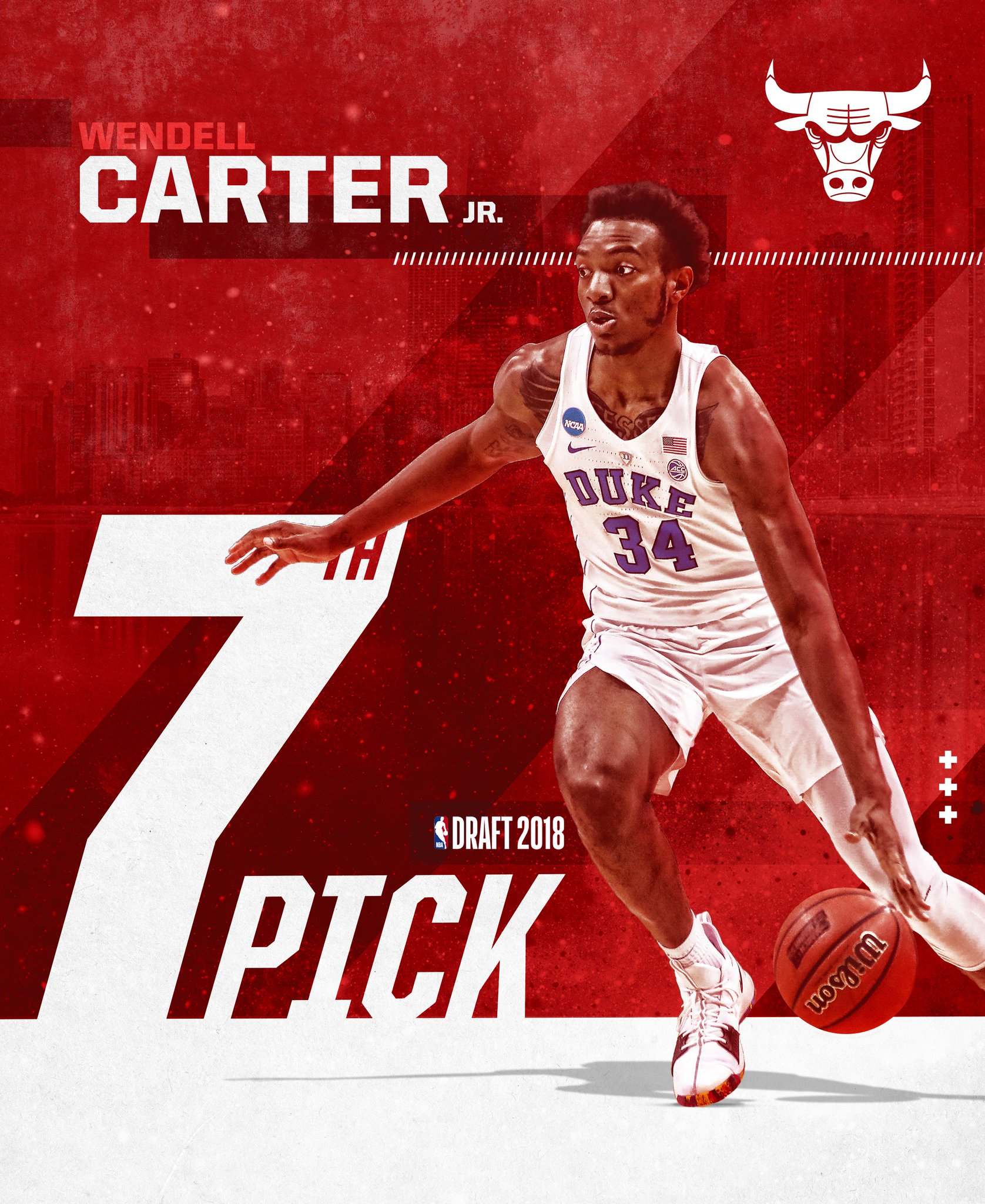 The pick is in! Meet the newest Chicago Bull: Wendell Carter Jr (@wendellcarter34) #BullsNation https://t.co/jrNrqV4P94
