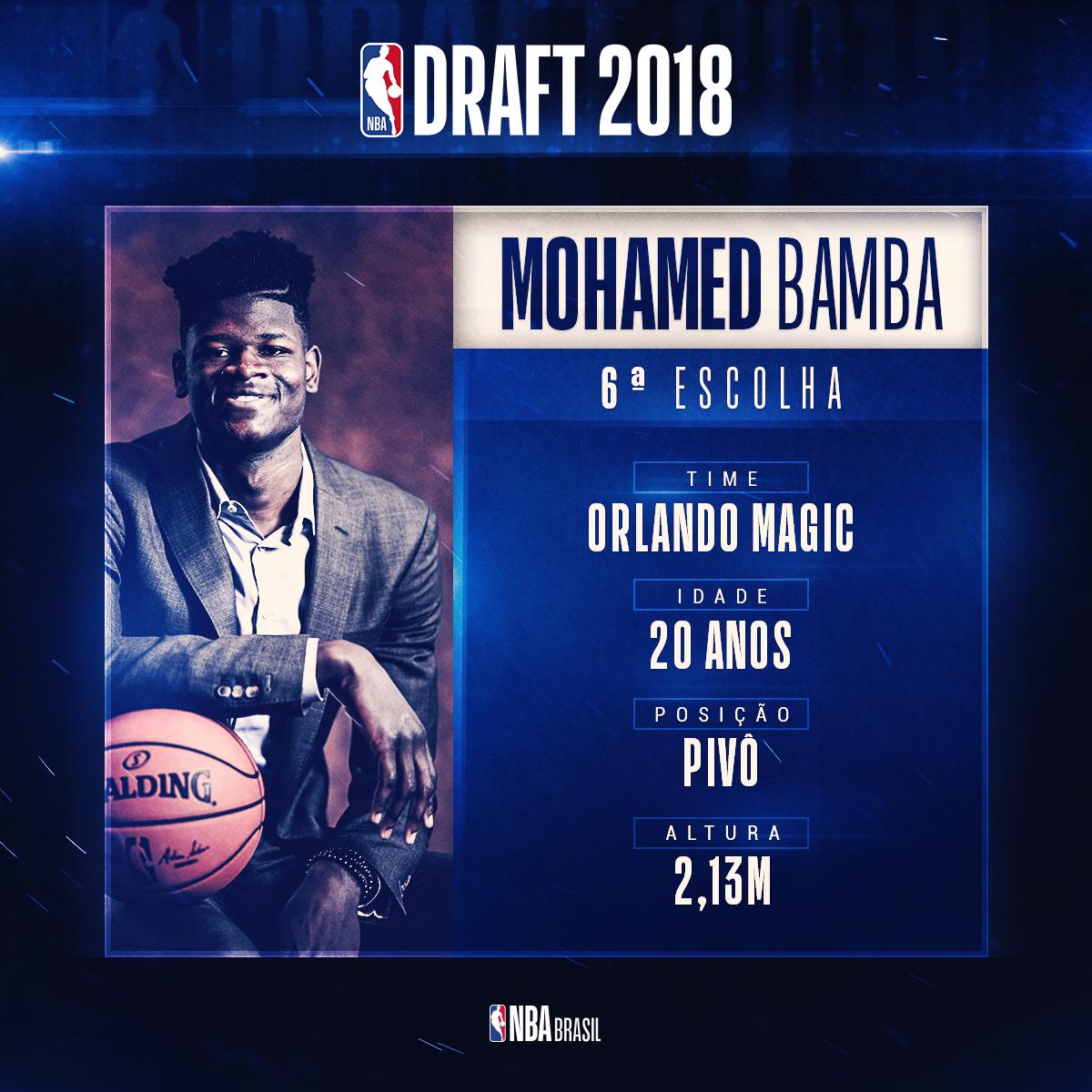 Mohamed Bamba é a 6ª ESCOLHA do #NBADraft 2018! O pivô que jogou na Universidade  do Texas, agora faz parte do @OrlandoMagic! Bamba foi listado com a maior envergadura (2,39m) entre os calouros do Draft! #NBAnaESPN #NBABrasil
