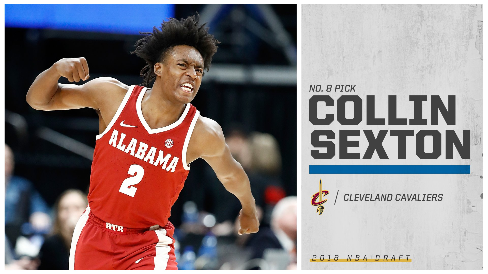 The Cleveland Cavaliers select Collin Sexton at No. 8! https://t.co/E43WoEsE2g