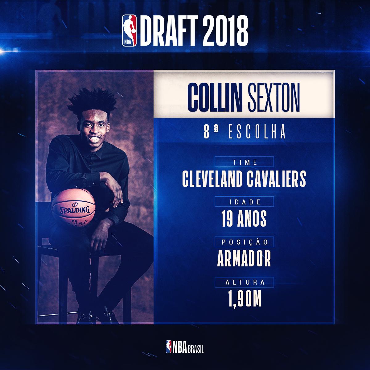 Com a 8ª escolha do #NBADraft, os @cavs selecionam Collin Sexton! O armador de 19 anos e 1,90m de altura, vem da Universidade do Alabama. #NBAnaESPN #AllForOne