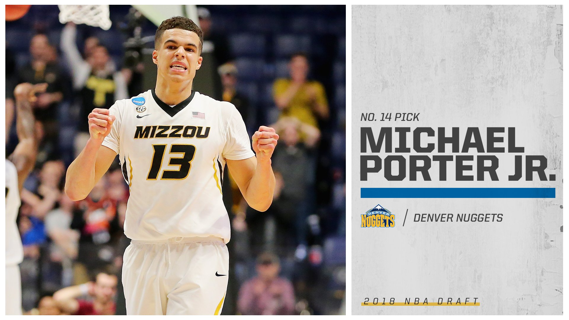 Michael Porter Jr. is officially off the market.  The Denver Nuggets select Porter Jr. at No. 14 overall! https://t.co/lO7MkKHvi7