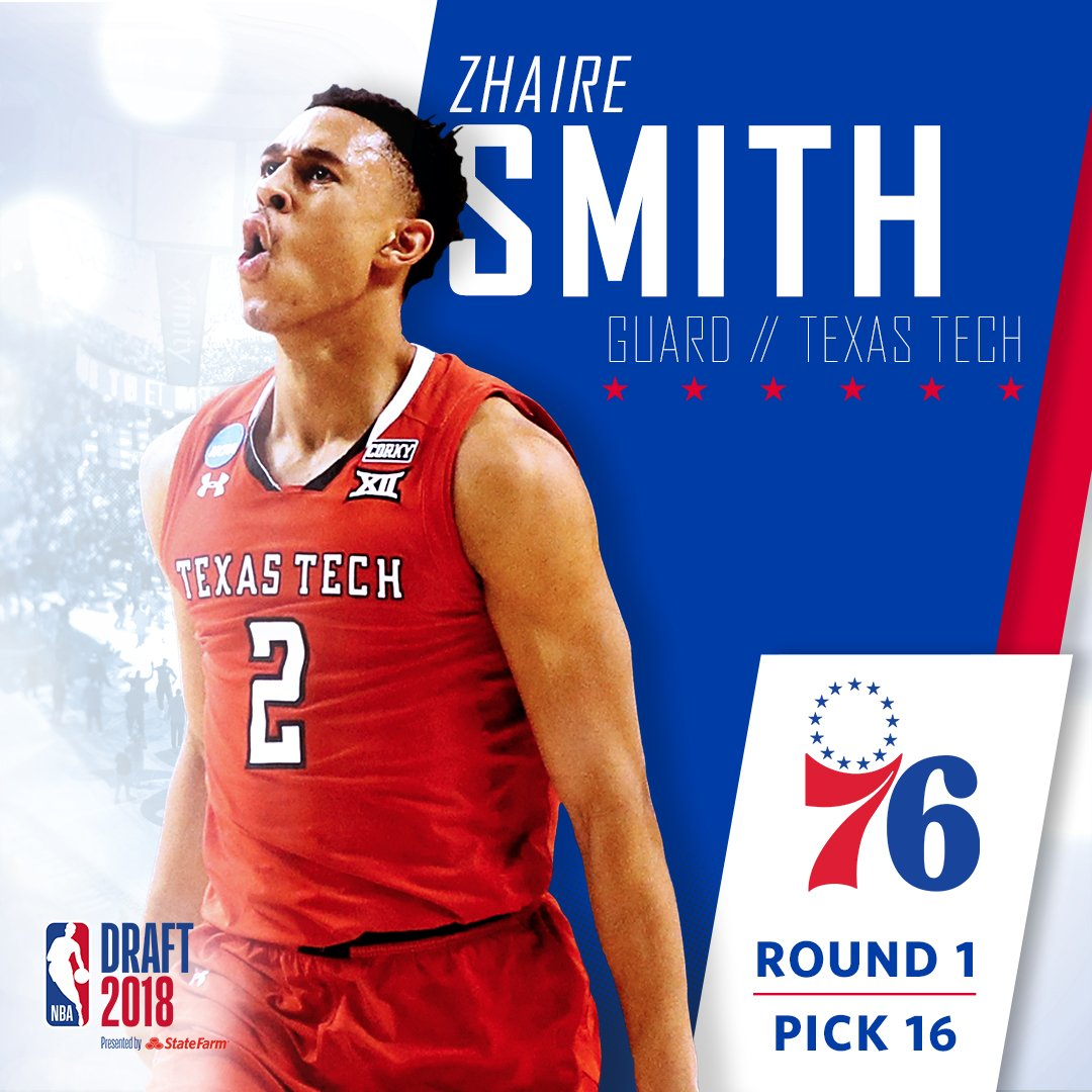 Welcome to Philadelphia, @zhaire_smith! #HereTheyCome x #NBADraft