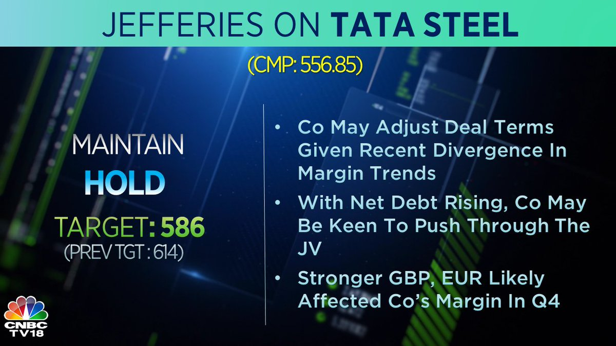 #CNBCTV18Market | Broader JV with @thyssenkrupp should be on track, says Jefferies on Tata Steel
