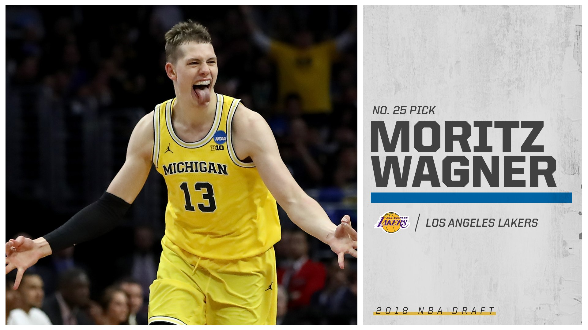 With the No. 25 pick, Moritz Wagner is headed to the Lakers! https://t.co/MnT98m8H59