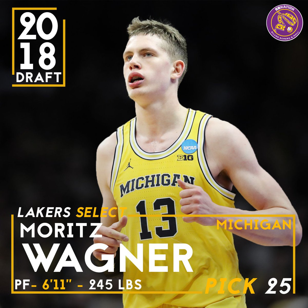 1092bd5b221 The Lakers have lassoed Moritz Wagner with the 25th pick in the 2018 NBA  Draft ...
