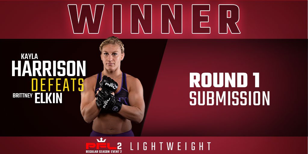 Kayla Harrison defeats Brittney Elkin by Submission in Round 1. #PFL2 #MMA #PFLmma #WhatDoYouFightFor #Chicago @Judo_Kayla @boojet86