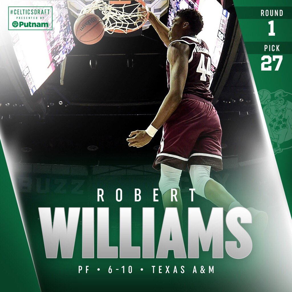 With the 27th pick of the 2018 #NBADraft, welcome to Boston @rob_williamsIII ☘️ https://t.co/SsoM9LKyb7
