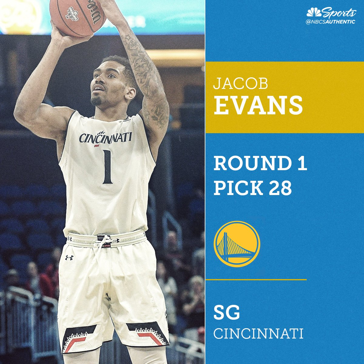 BREAKING: @warriors select Cincinnati wing Jacob Evans with No. 28 overall pick in 2018 NBA Draft bit.ly/2MNCT9G