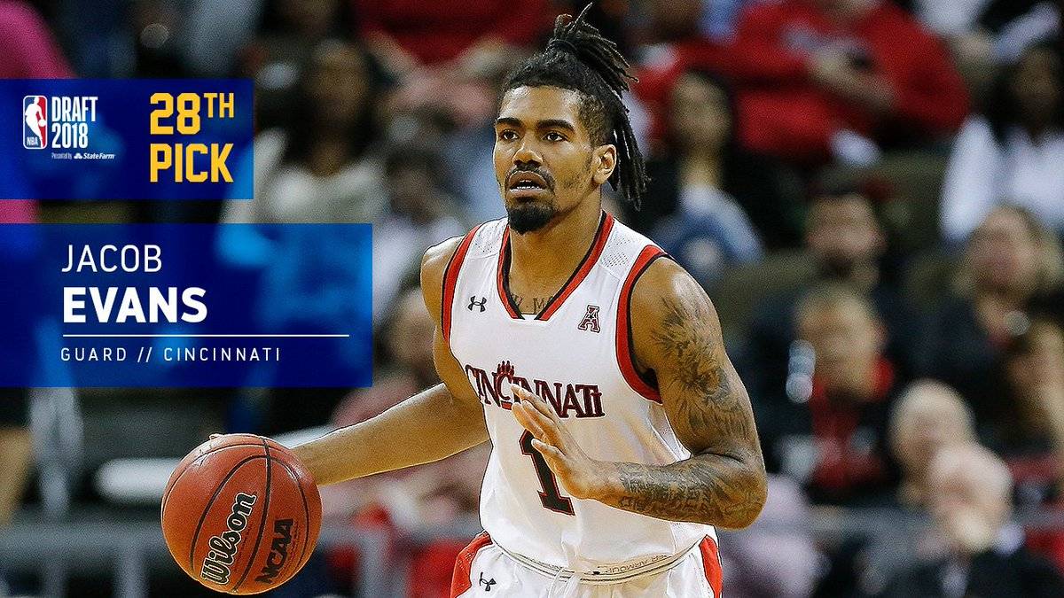 With the 28th pick in the 2018 #NBADraft, the Warriors select Jacob Evans.