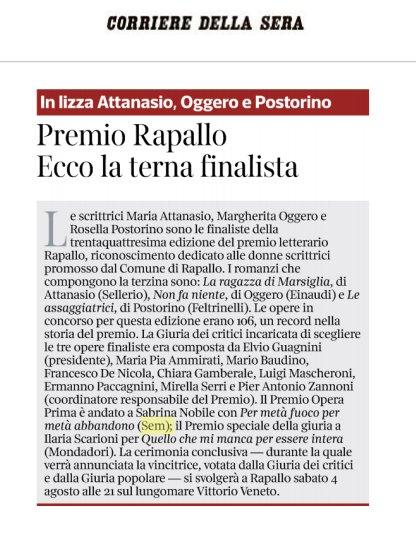 Sabrina Nobile vince il premio Rapallo opera prima! Oggi su @Corriere! #22giugno #leggiamo  - Ukustom