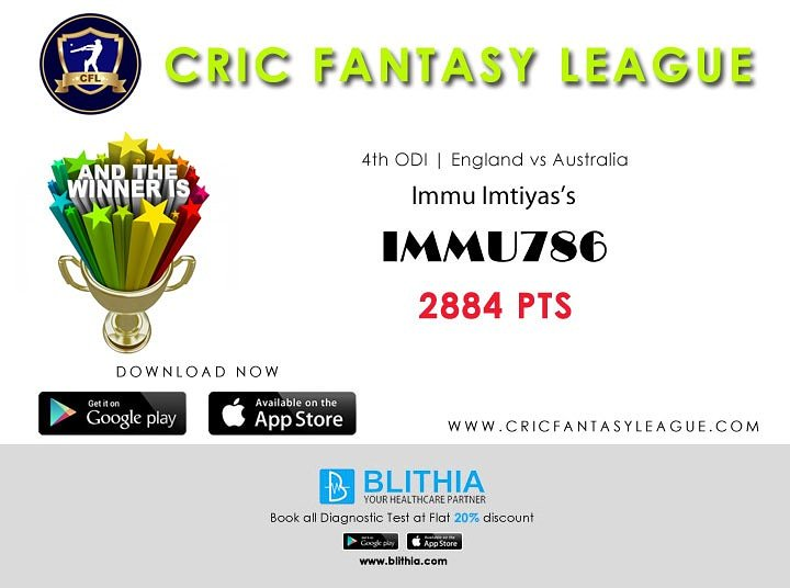Congratulations to the winner of 4th ODI between #ENGvAUS Download @CFL_India #CFL #FantasyCricket #league #ODI #OneDayInternational #EnglandSquad #Australia #engvsaus #FantasyCricket