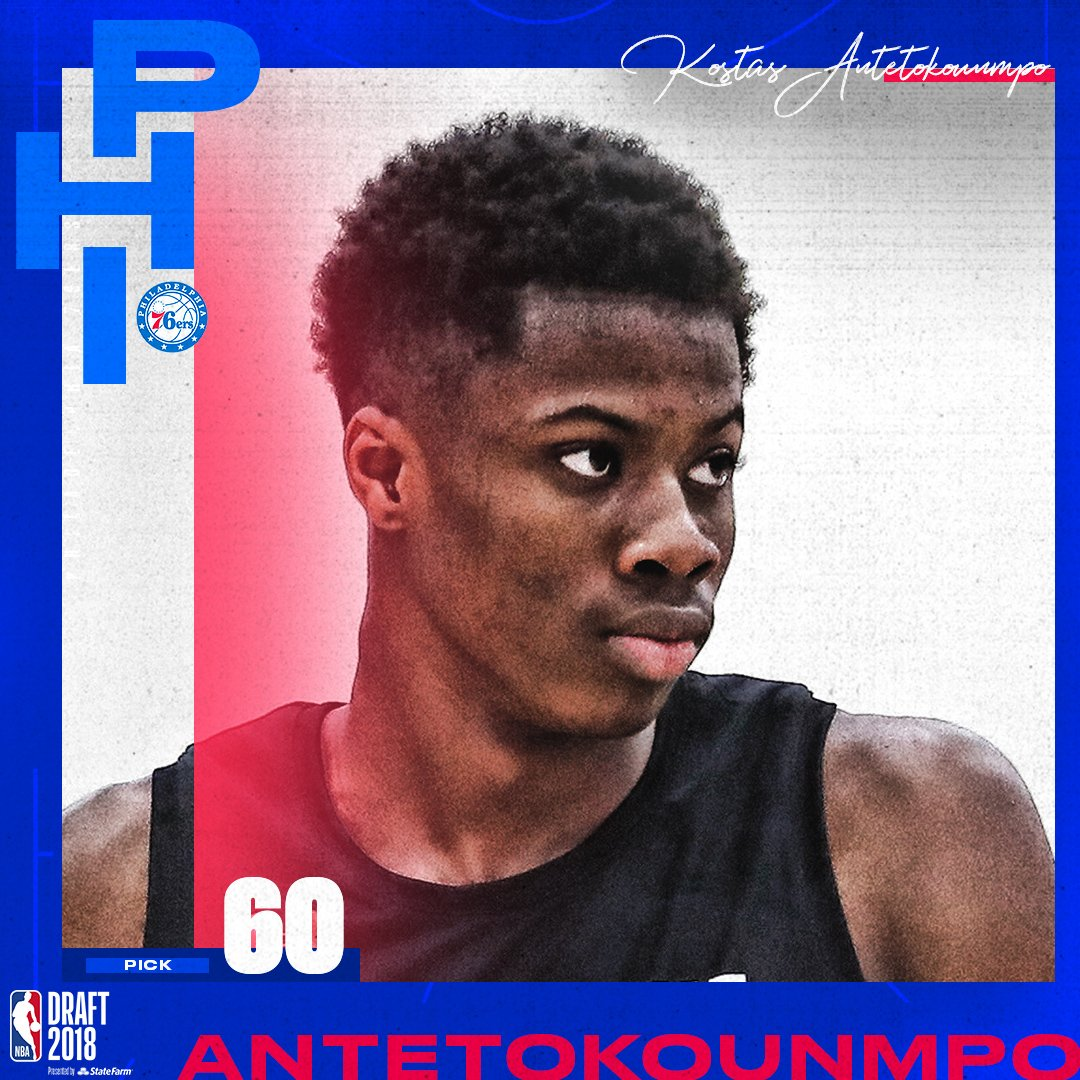 The @Sixers select Kostas Antetokounmpo with the 60th pick in the 2018 #NBADraft  Reports: Philly has traded Antetokounmpo's draft rights to Dallas.