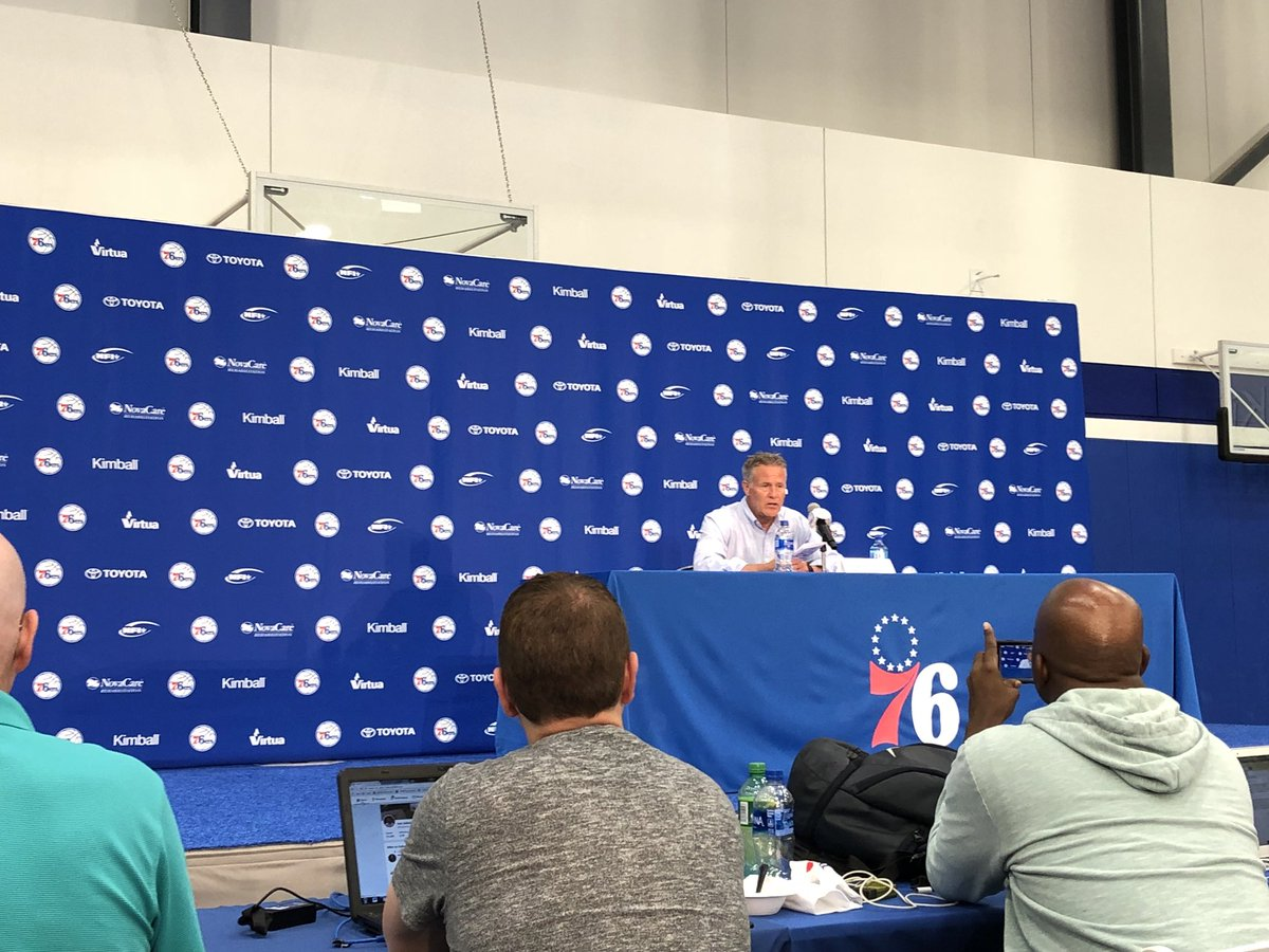 "Brett Brown back for second and final presser of the evening. ""I think the draft went well tonight."""