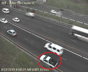 Stationary Vehicle; N3 to DBN after EB Cloete I/C; Left ramp lane obstructed; Drive carefully. Photo