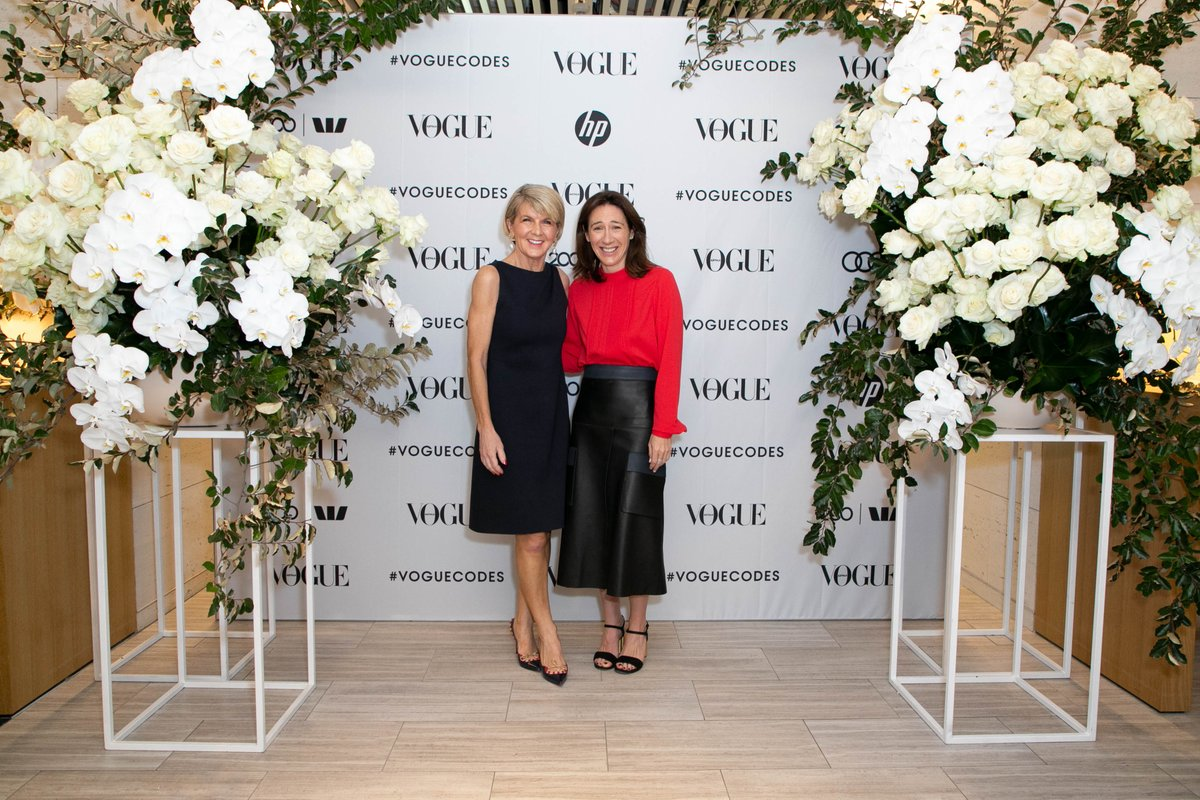 The Hon @JulieBishopMP, Minister for Foreign Affairs, with Vogue Australias editor-in-chief Edwina McCann at the #VogueCodes Sydney Summit.
