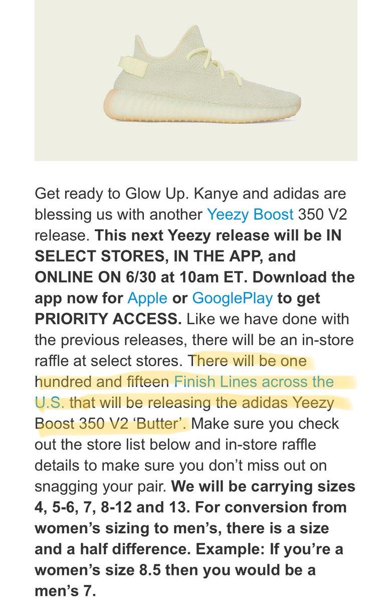 "Yeezy Boost 350 V2 ""Butter"" complete store list and info via Finishline ... 211e87b76"