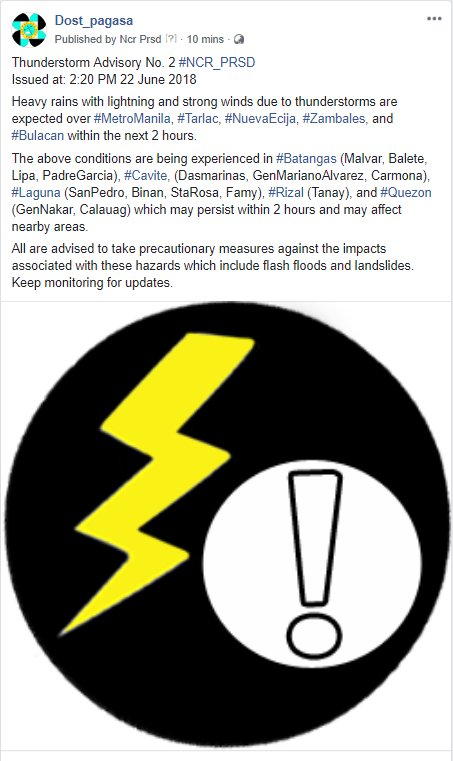 Thunderstorm Advisory No. 2 #NCR_PRSD Issued at: 2:20 PM 22 June 2018