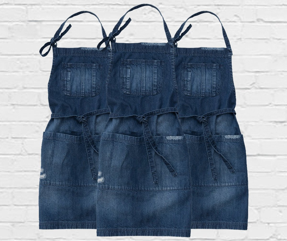 Our Boston in Mid Blue #DenimApron is a standout for style, and better yet, its on #Sale now for $14.99! Made in a dark vintage style denim &amp; with unique #HandDistressed details, this apron will develop more &amp; more #character &amp; personality as it works with you over time <br>http://pic.twitter.com/QpUw4jyK6A