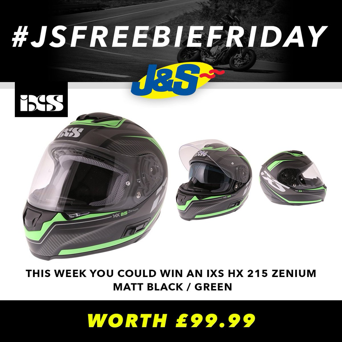 #JSFREEBIEFRIDAY Retweet this post and follow us for a chance to win an IXS HX 215 Zenium Helmet worth £99.99. Ends Tues June 26th. You can also enter by signing up to our newsletter here:   Happy Friday everyone!