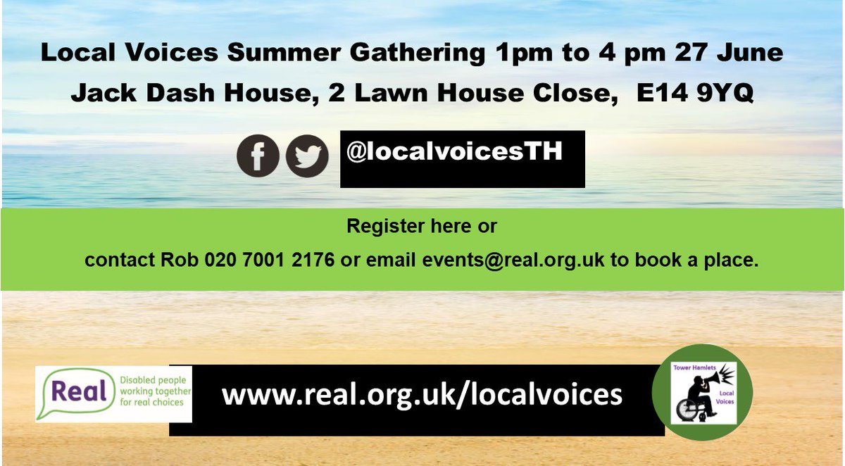 Our Local Voices Project are organising a Summer Gathering to promote the Local Voices Network - Its aimed at disabled people who live, work, study in Tower Hamlets.   https://www. eventbrite.co.uk/e/local-voices -summer-gathering-tickets-45141458317 &nbsp; … <br>http://pic.twitter.com/L8AZIZRzu8