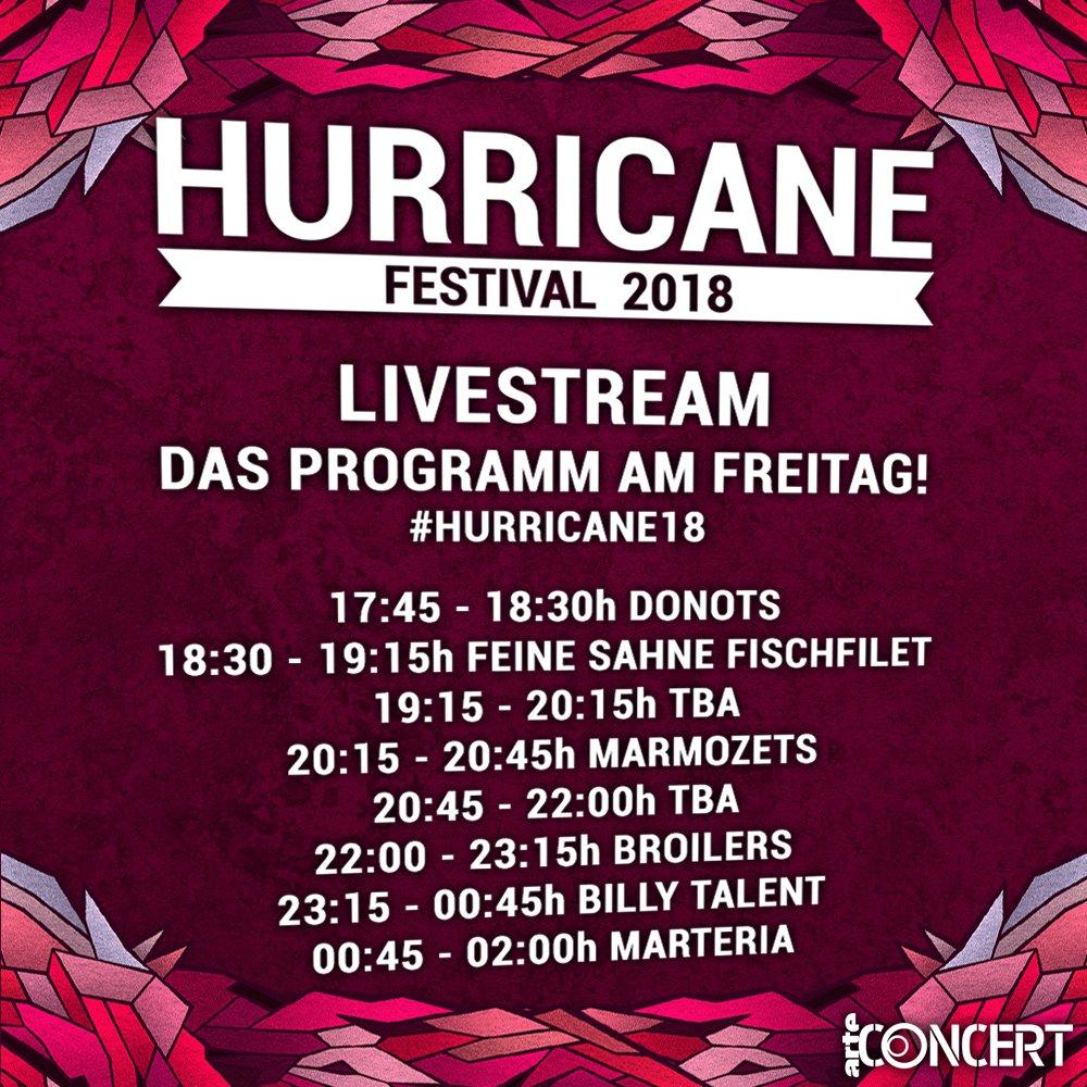 Livestream-Update! Jetzt mit den ersten Bands für Freitag. #hurricane18