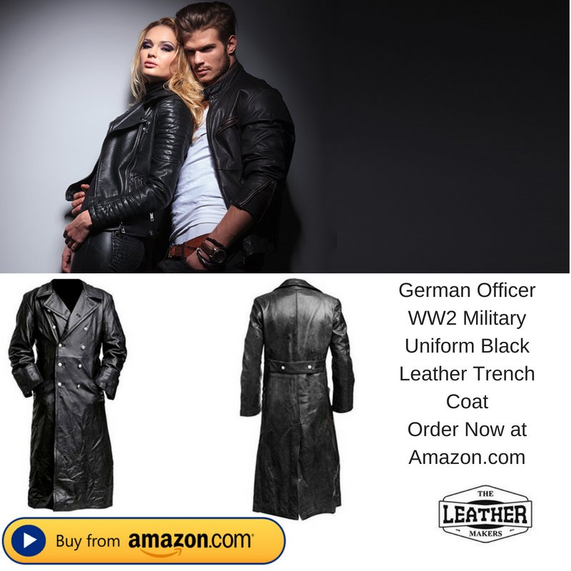 MEN/'S CLASSIC OFFICER MILITARY BLACK LEATHER LONG GERMAN TRENCH COAT