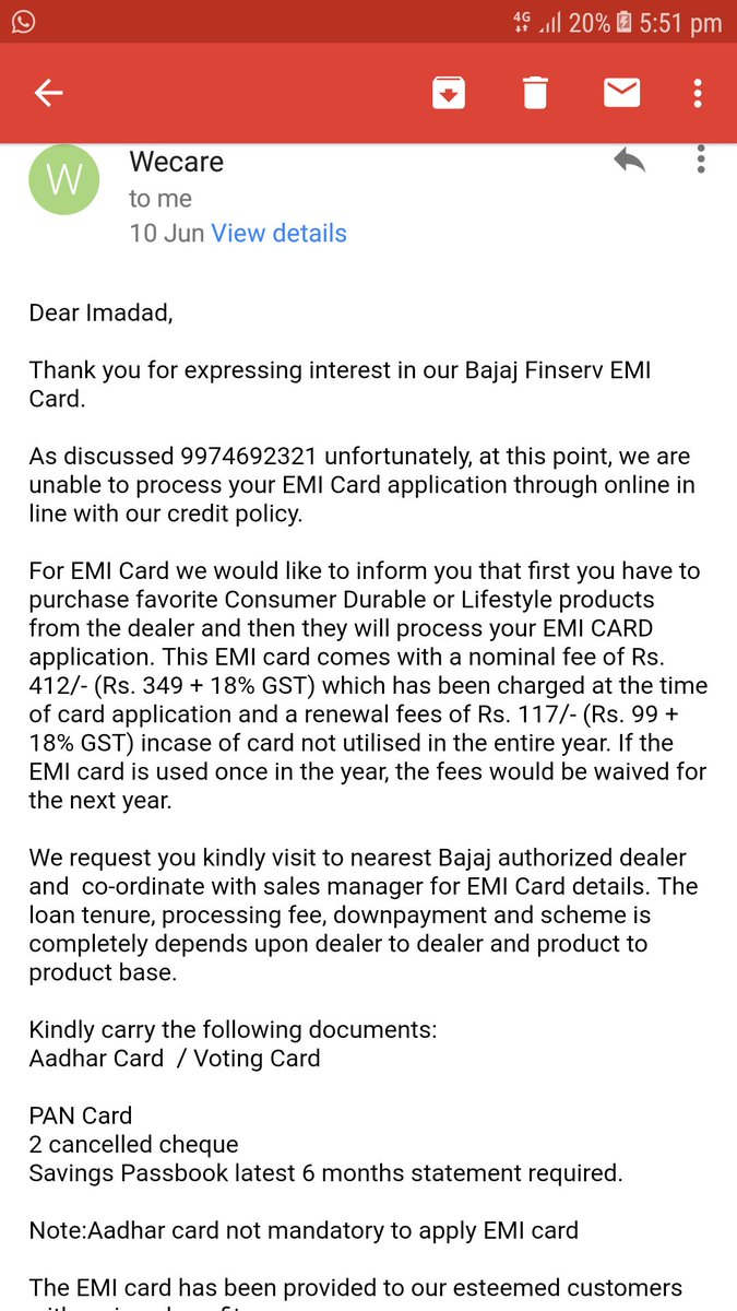 Imadadali On Twitter Which Mail I Have Only One Mail Of 10th Jun Which Is Not Valid As Per Your Customer Care Executive Revert I Have Not Get Any Solution Below Attachment Is Last