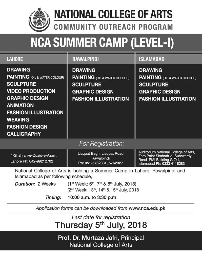 National College Of Arts Nca On Twitter Admissions Open Summer Camp Level