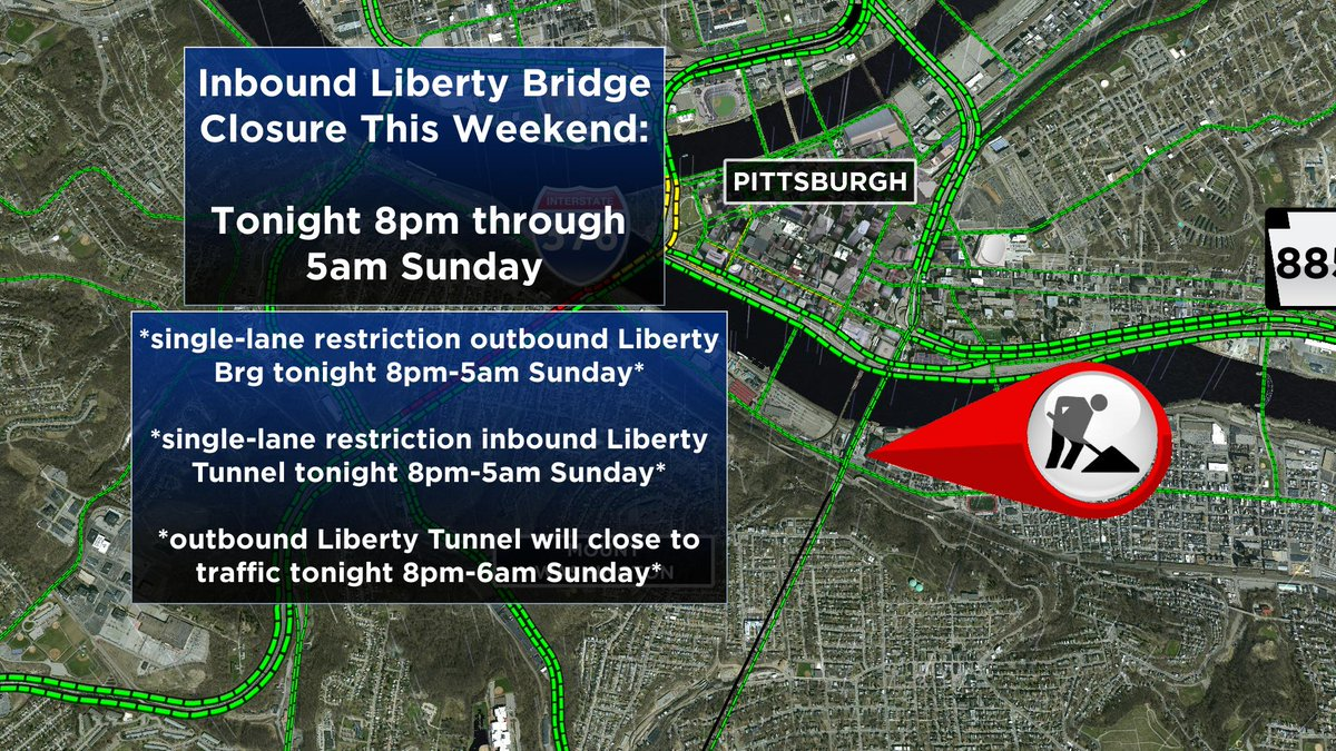 An inbound closure is scheduled on the Liberty Bridge starting tonight at 8pm lasting until 5am Sunday. Additionally, these restrictions/closure will also occur listed on this map. *McArdle Roadway will remain OPEN the entire weekend. @CBSPittsburgh