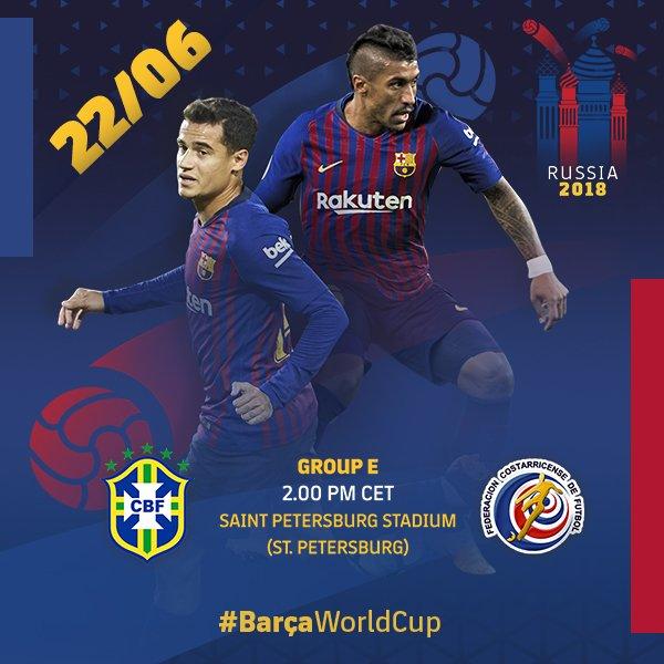 �� La agenda azulgrana del día en #Rusia2018 �� ¡Mucha suerte, @Paulinhop8 y @Phil_Coutinho! ���� #BarçaWorldCup https://t.co/cwBrp8Yb3L