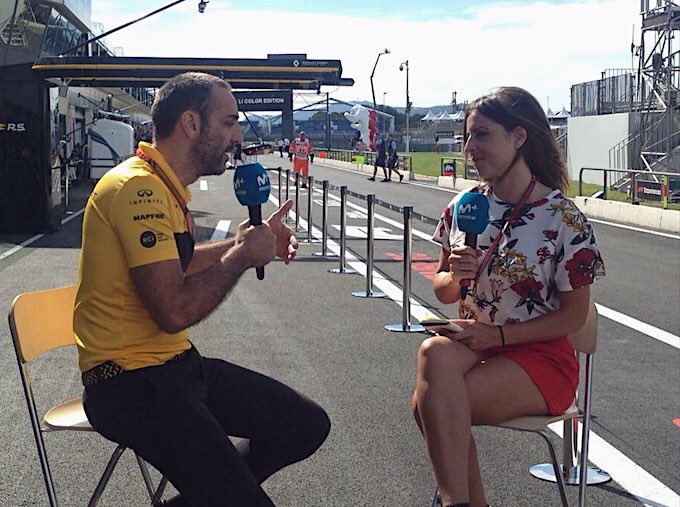 Busy morning for Cyril, including a chat with our friends at @movistar_F1!   #RSspirit #FrenchGP