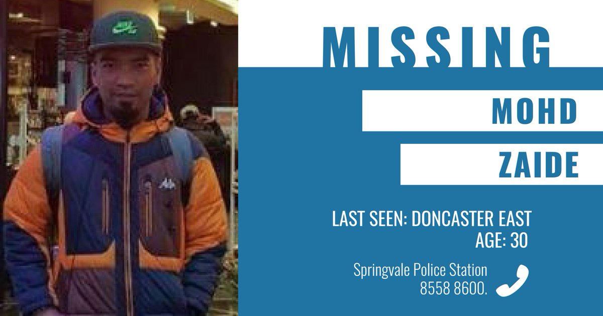 Police are appealing for public assistance to help locate missing man Mohd Zaide. More → https://t.co/ffYhp0C8Cb