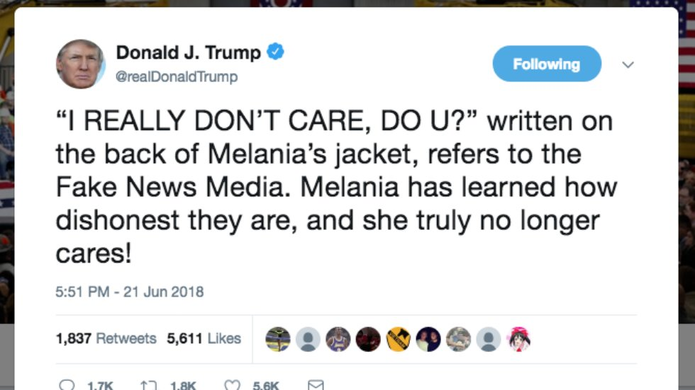 Trump admits Melania wore 'I really don't care' jacket on purpose after her spokeswoman claimed she didn't https://t.co/oXjrDYOq1a