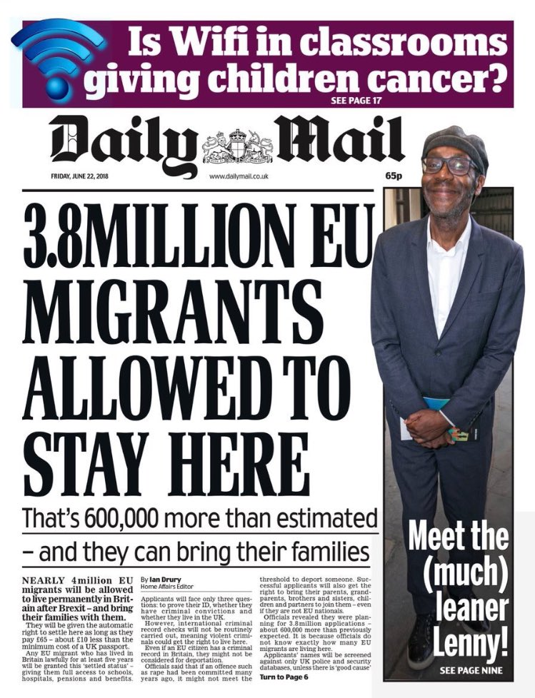 The second biggest newspaper in Britain is effectively calling for the mass deportation of our fellow EU citizens. The absolute fucking pits.