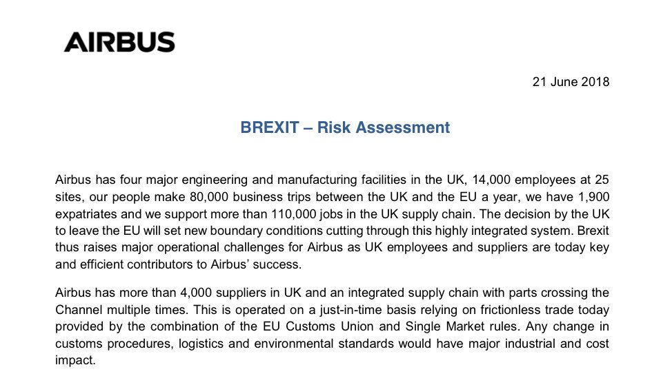 "The document is a ""Risk Assessment"" of the company that up until now makes up to 40% by value of its planes in the UK (if you include engines). Just in time delivery, no rules of origin in Customs Union, EASA Single Market safety checks - Airbus in UK built on this system 1/10"