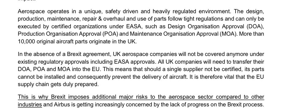 "10,000 original Airbus aircraft parts originate in UK under EU rules - ""All UK companies will need to transfer design approvals, product approvals and maintenance approvals into the EU"" if theres No Deal ans so Airbus says it's ""increasingly concerned"" about lack of progress 2/10"