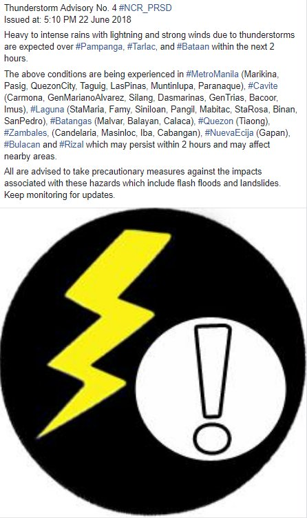 Thunderstorm Advisory No. 4 #NCR_PRSD Issued at: 5:10 PM 22 June 2018