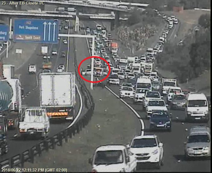 Crash; N2 Northbound after EB Cloete I/C; Right lane obstructed; Drive carefully. Photo