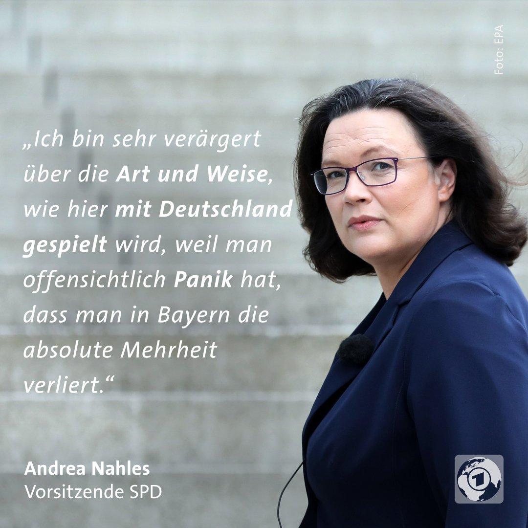 Der #Unionsstreit über die Asylpolitik sorgt beim Koalitionspartner SPD zunehmend für Unmut. Sie sei 'nicht bereit, diese Mätzchen noch weiter mitzumachen', sagte Nahles im tagesthemen-Interview. #Asylstreit